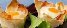 Recetas Entrantes | Receta Tartaletas de Pan con Huevo y Bacon Recipe Images, Canapes, Tapas, Sin Gluten, Flan, Sushi, Sandwiches, Food And Drink, Lunch