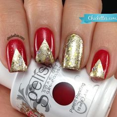Chickettes.com Red & Gold Chevron Holiday Nails