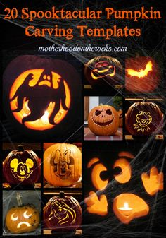 20 Spooktacular Pumpkin Carving Templates, plus pumpkin seed recipes, halloween costumes and kids crafts! - Motherhood on the Rocks Halloween House, Holidays Halloween, Halloween Kids, Halloween Treats, Halloween Pumpkins, Happy Halloween, Halloween Decorations, Halloween Costumes, Fall Crafts