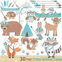 Tribal animals,animal clipart,tribal clipart,tribal clip art,scrapbooking c Woodland Baby, Woodland Animals, Forest Animals, Tribal Animals, Arrow Feather, Forest Friends, Creative Crafts, Creative Products, Design Products