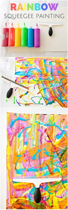 Rainbow Squeegee Painting Process Art for Kids Rainbow Activities, Art Activities For Kids, Preschool Crafts, Therapy Activities, Projects For Kids, Diy For Kids, Art Projects, Crafts For Kids, Fall Crafts