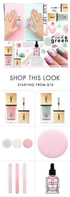 """""""Spring Mani: Pink and Green"""" by giogiota ❤ liked on Polyvore featuring beauty, Yves Saint Laurent, Nails Inc., Accessorize, Anja, Deborah Lippmann, Forever 21, mani, contestentry and pinkandgreen"""