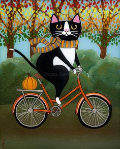 Fat Cats on Bicycles....looks licke Wiston...dashing figure of a cat that he was....in that tuxedo & all....