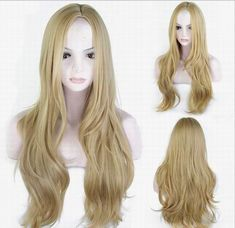 natural long blond wavy synthetic wigs middle parting for women Cheap Lace Front Wigs, Cheap Wigs, Long Blond, Long Curly, How To Wear A Wig, Wigs Online, Wigs For Sale, Blonde Wig, Womens Wigs