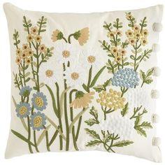 Spring Garden Embroidered Florals Pillow
