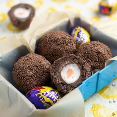 Scotch Creme Eggs - the most delicious thing I've ever made! Cadbury Creme Eggs, covered with chocolate brownie and rolled in sprinkles. Weight Watcher Desserts, Chocolate Brownies, Chocolate Recipes, Cadbury Chocolate, Cream Egg Brownies, Chocolate Sprinkles, Easter Chocolate, Delicious Chocolate, Baking Recipes