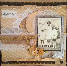 Everything Beautiful - $20 A beautiful feminine page, great for old photos.  Everything you need to create this page is included in the kit.  Email Deborah kitsandbits1@gmail.com or text 0274303781 New Zealand Step By Step Instructions, Old Photos, New Zealand, Scrapbooking, Feminine, In This Moment, Kit, Create, Pictures