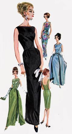 Black evening gown column sheath satin boatneck sleeveless blue green color illustration Vintage 60s Sewing Pattern Butterick 2488 Audrey Hepburn Style Slim Dress Gown w/ Detachable Overskirt Low Back Size 14 Bust 34 by sandritocat on Etsy