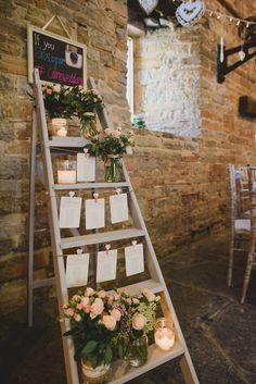 rustic ladder wedding table chart display ideas