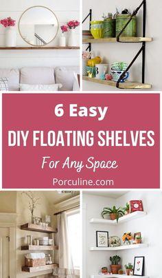 White Shelves, Floating Shelves Diy, Bookshelves, Repurposed, Diy Home Decor, Home Goods, Easy Diy, Diy Projects, Living Room
