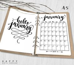 Printable 2017 Monthly Planner Hello 2017 von HappyDigitalDownload