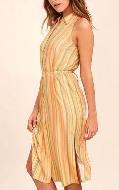 Sunburst Light Orange Striped Shirt Dress via @bestchicfashion