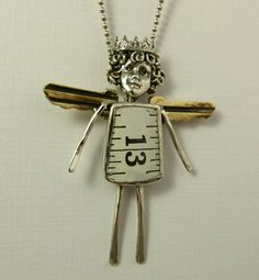 Angel Zoey Counts Her Blessings - Up Cycled Sterling Silver, Brass Keys, Metal Measuring Tape, And PMC - Art Jewelry Pendant - 1141. $110.00, via Etsy.