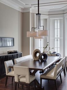 Replace Chairs With Benches. Communal seating is making a big splash in the design world. A space-saving option. via hgtv.com Buckingham Interiors + Design