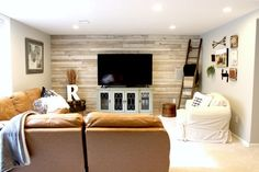 Reclaimed White Paneling in Living Room. Wood from Dakota Timber Co. Reclaimed Wood Paneling, Fargo Moorhead, White Paneling, Sweet Home, Couch, Living Room, Bed, Projects, Furniture