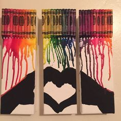 Melted crayon wall art, hand heart Two hands making a heart, melted crayon art, 3 piece set, homemade Brandy Melville Other