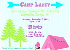 girls camp invitation - Google Search