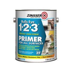 Zinsser Bulls Eye 1-2-3 Interior or Exterior Multi-Purpose Water-Based Wall and Ceiling Primer (1-Gallon) in the Primer department at Lowes.com Oil Based Stain, Water Based Stain, Installing Shiplap, Metal Patio Furniture, Beige Paint, Concrete Bricks, New Kitchen Cabinets, Kitchen Nook, Kitchen Redo