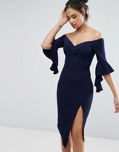 Buy Ginger Fizz Cross Front Bardot Midi With Thigh Split at ASOS. Get the latest trends with ASOS now. Classy Outfits, Chic Outfits, Beautiful Outfits, Fashion Outfits, Dance Outfits, Dance Dresses, Maxi Dresses, Party Dresses, Mid Length Dresses