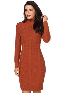 c7fa48f5ace Burnt Orange Cable Knit High Neck Sweater Dress Long Sleeve Sweater Dress