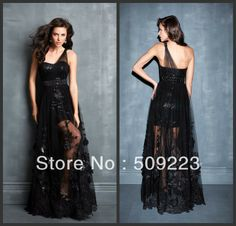 Newest 2014 A Line  Lace Appliqued Black Red Tulle One Shoulder Flapper Full Length  Sexy  Prom Party Dress Evening Gown US $175.00