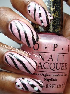 Pink Wednesday: Curvy Stripes and White Spots Gorgeous Nails, Love Nails, Pretty Nails, My Nails, Pink Zebra Nails, Opi Pink, Nailart, The Art Of Nails, Animal Nail Art