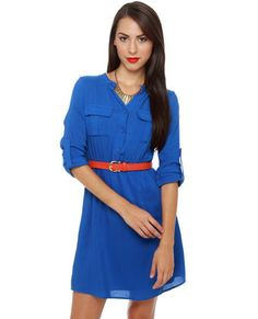 Every closet needs the classics, so stock up on The Criterion Collection Blue Shirt Dress! Cotton blend has a button-up bodice with long, button-tab sleeves. Shirt Dress Button Up, Blue Shirt Dress, Cute Dresses, Dresses For Work, The Criterion Collection, Navy Blue Dresses, Unique Outfits, Work Attire, Sport Outfits