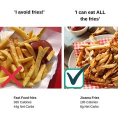 On the side or hold the fries? Im a French fry lover so I don't like to pass on them, but deep-fried French fries aren't something any of us should eat every day. #healthyfries #healthyfrenchfries #jicama #jicamafries #lowcarbfries #healthyrecipeswaps #frenchfryswaps #ketofries #diabetesfoods #diabetes #whattoeatwithdiabetes #lowcalorierecipes #lowcarbrecipes #ketorecipes #highfiberrecipes