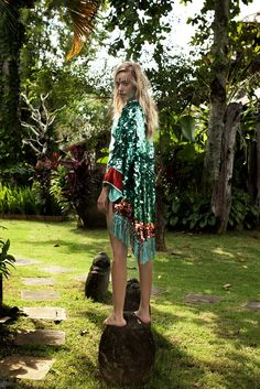Image of PARADISO Collection | MIMOSA Sequin Kimono | verdigris