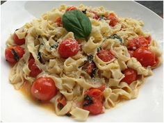 Homemade Tagliatelle with a Basil & Blistered Cherry Tomato Sauce