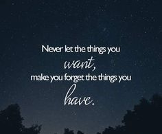 Never let the things you want, make you forget the things you have.