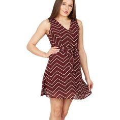 Maroon v-neck zigzag dress
