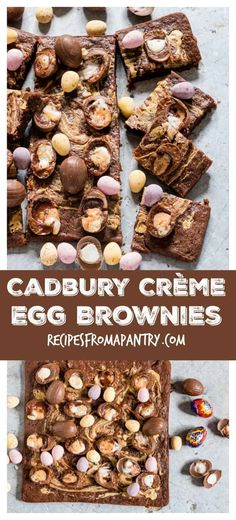 You will love these Cadbury Crème Egg Brownies that are suitably decadent yet extremely easy to make. Fudgy, gooey and over-the-top delicious! You will not be able to stop at just one or two Mini Crème Egg Brownies. Desserts Ostern, Köstliche Desserts, Delicious Desserts, Dessert Recipes, Yummy Food, Brownie Recipes, Chocolate Recipes, Cadbury Recipes, Cupcakes