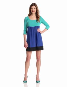 Tiana B Womens Colorblock Empire Waist Dress, Blue, 8 coupon| gamesinfomation.com