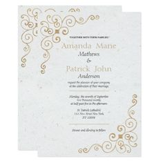 Vintage white faux gold glitter floral Wedding Card - gold wedding gifts customize marriage diy unique golden