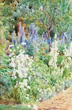 Campanula and delphiniums - Beatrice Emma Parsons  British, 1870-1955