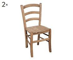 Set di 2 sedie in legno Valeria naturale - 45x88x45 cm