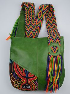 Peppermint green leather shoulder bag with by WakuColombianDesigns