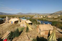 The Uros people live on floating reed islands in lake Titicaca, Peru.