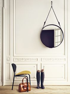 I <3 <3 <3 these 1950s leather belted mirrors by Jacques Adnet