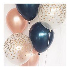 Navy Rose Gold and Gold Confetti Latex Balloon~Wedding~Bridal Shower~Birthday Party~Baby Shower~Navy&Gold~Rose Gold Balloon~Bachelorette - Wedding Colors Gold Color Scheme, Blue Color Schemes, Gold Colour, Navy Blue Wedding Theme, Wedding Colors, Wedding Colour Schemes, Wedding Flowers, Wedding Dresses, Ideas Para Fiestas