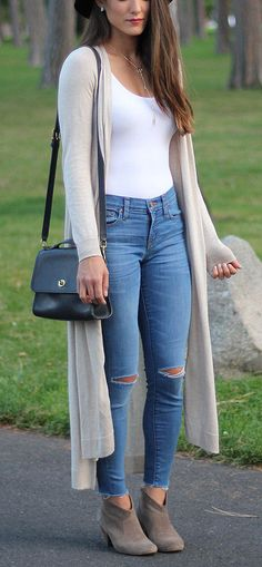 summer outfits  Beige Maxi Cardigan + White Tank + Destroyed Skinny Jeans