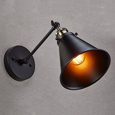 CLAXY® Ecopower Vintage Style Simplicity Wall Swing Arm Lamp, Matte Black in Wall Lamps & Sconces. Swing Arm Wall Sconce, Black Wall Sconce, Industrial Wall Lights, Vintage Wall Lights, Bathroom Wall Sconces, Candle Wall Sconces, Wall Lamps, Retro Lighting, Sconce Lighting
