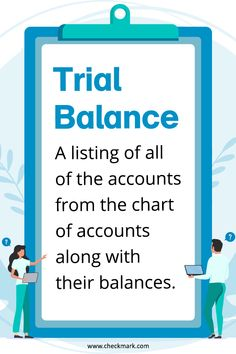 Trial Balance: A Listing of all of the accounts from the chart of accounts along with their balances. Accounting Classes, Accounting Basics, Accounting Principles, Accounting Student, Accounting And Finance, Sage Accounting, Small Business Bookkeeping, Small Business Accounting, Business Education
