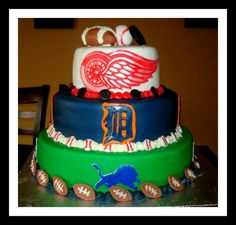 Detroit sports cake