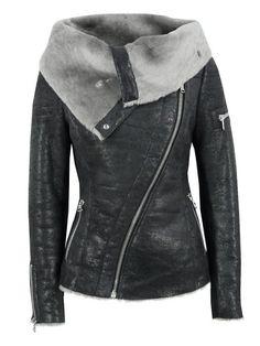 Stylish Turn-Down Collar Long Sleeve Zippered Women's Leather Black Jacket