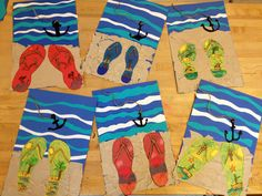 end of school year art, elementary school art project, summer art lesson, collag, ocean art project, at the beach, flip flop, elementary art, beach projects