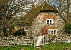 """cottage dear cottage with sweet stone, gate and door. In this cottage I'd play the Beattles, """"When I'm Sixty Four""""! Style Cottage, Cottage Living, Cozy Cottage, Cottage Homes, Garden Cottage, Brick Cottage, Country Living, Fairytale Cottage, Storybook Cottage"""