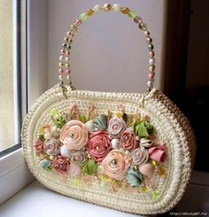Crochet purse by Svetlana tregub Bead Embroidery Jewelry, Silk Ribbon Embroidery, Fabric Flower Tutorial, Fabric Flowers, Macrame Purse, Hippie Crochet, Fabric Handbags, Flower Bag, Craft Bags