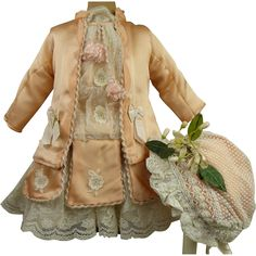 Exquisite French silk salmon pink antique dolls one-piece couturier dress with beautiful antique  bonnet